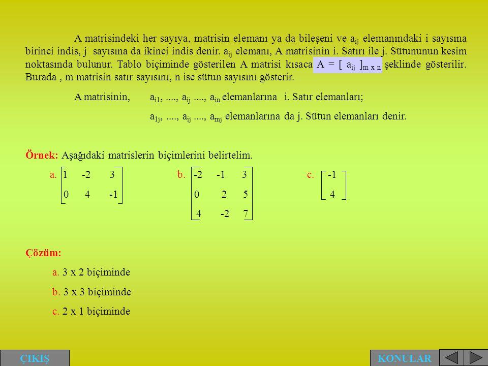 A matrisindeki her sayıya, matrisin elemanı ya da bileşeni ve aij elemanındaki i sayısına birinci indis, j sayısına da ikinci indis denir. aij elemanı, A matrisinin i. Satırı ile j. Sütununun kesim noktasında bulunur. Tablo biçiminde gösterilen A matrisi kısaca A = [ aij ]m x n şeklinde gösterilir. Burada , m matrisin satır sayısını, n ise sütun sayısını gösterir.